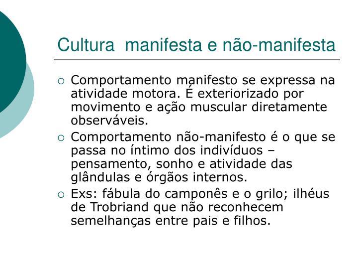 Cultura  manifesta e não-manifesta