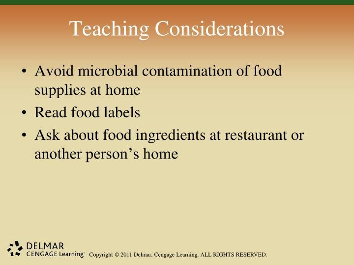 Teaching Considerations