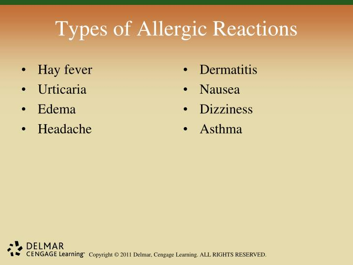 Types of Allergic Reactions