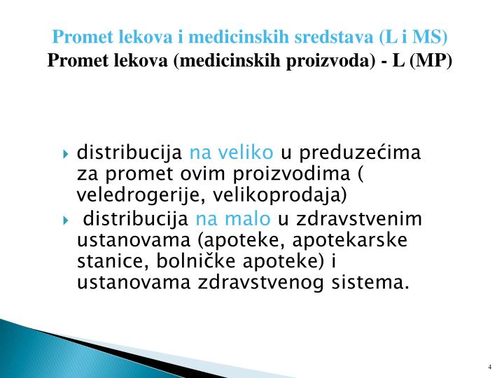 Promet lekova i medicinskih sredstava (L