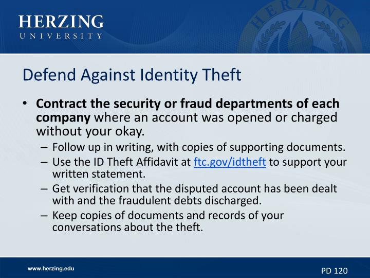 Defend Against Identity Theft
