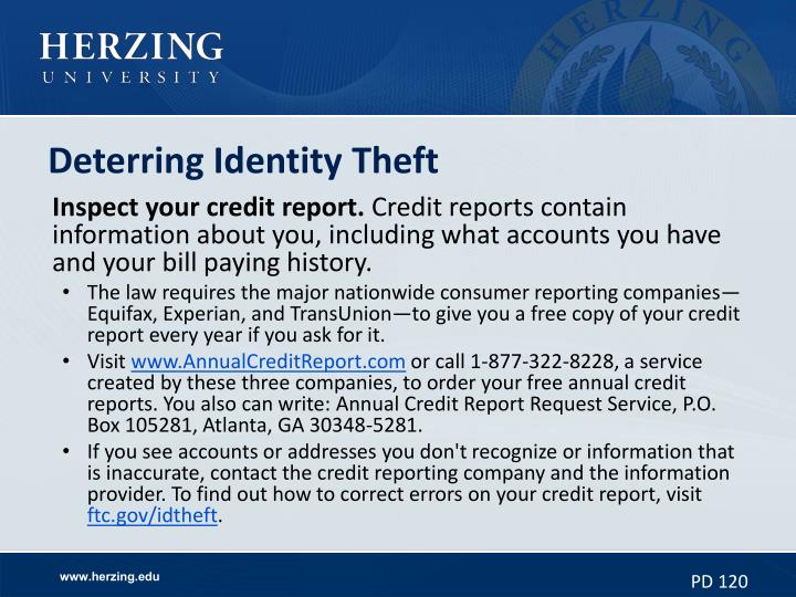 Deterring Identity Theft
