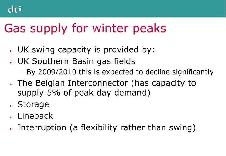 Gas supply for winter peaks