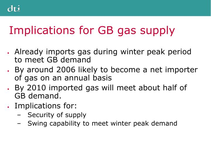 Implications for GB gas supply