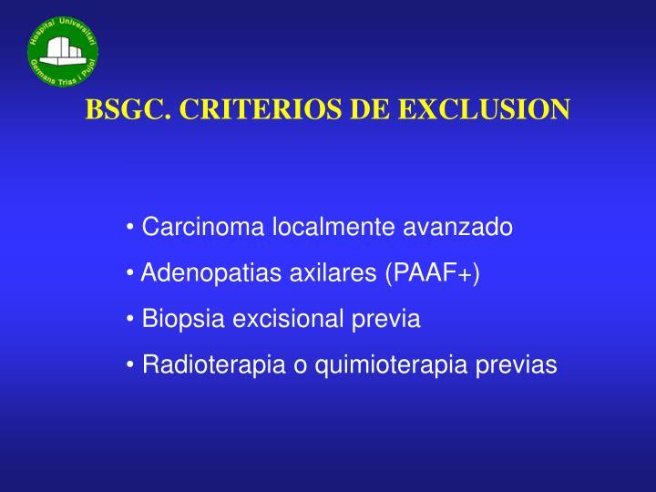 BSGC. CRITERIOS DE EXCLUSION