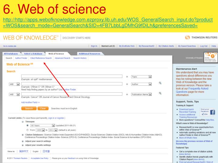 6. Web of science