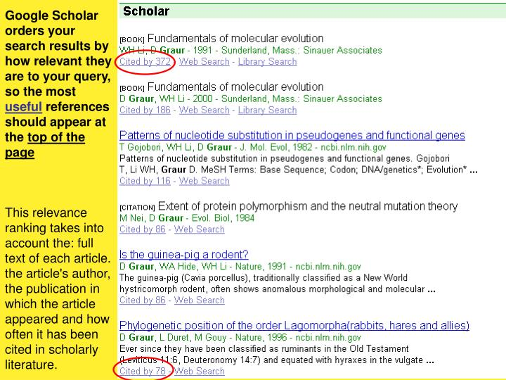 Google Scholar orders your search results by how relevant they are to your query, so the most