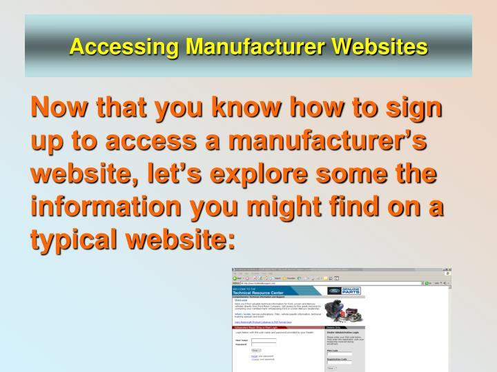 Accessing Manufacturer Websites