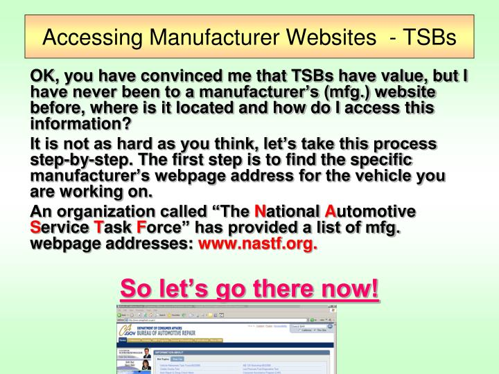 Accessing Manufacturer Websites  - TSBs