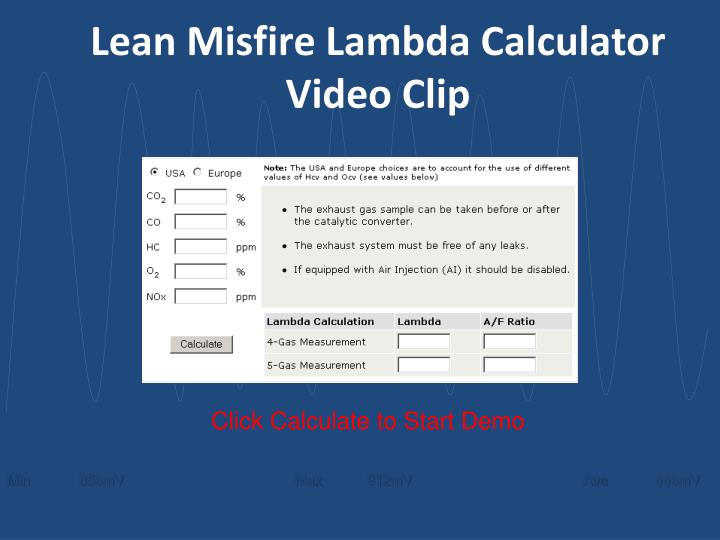 Lean Misfire Lambda Calculator Video Clip