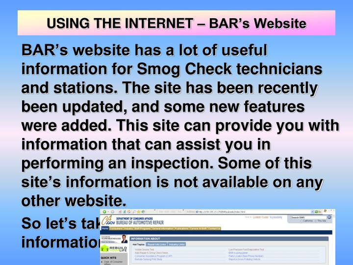 USING THE INTERNET – BAR's Website
