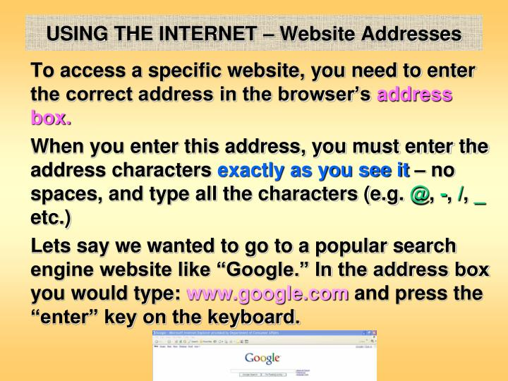 USING THE INTERNET – Website Addresses