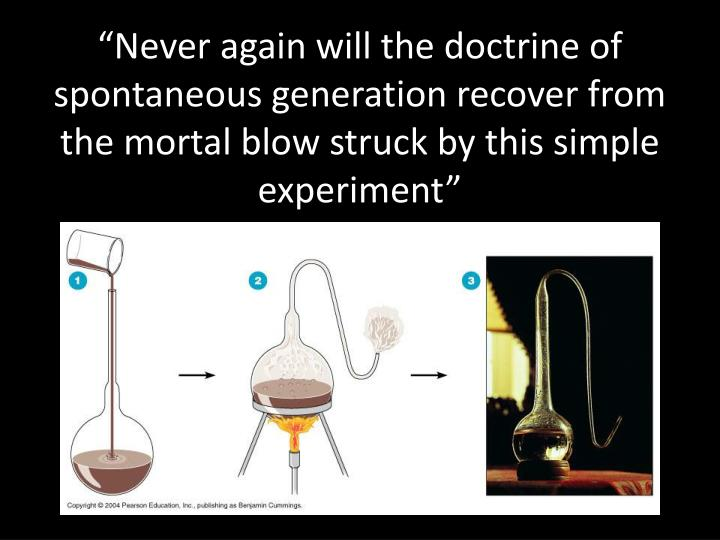 """Never again will the doctrine of spontaneous generation recover from the mortal blow struck by this simple experiment"""