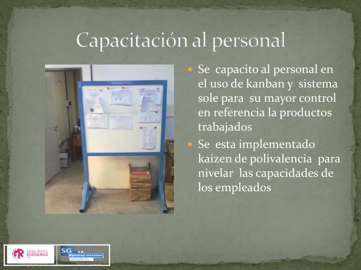 Capacitación al personal