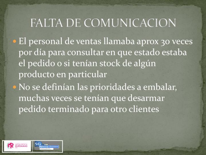 FALTA DE COMUNICACION
