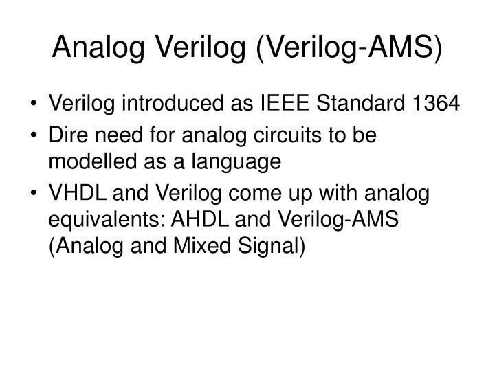 Analog Verilog (Verilog-AMS)