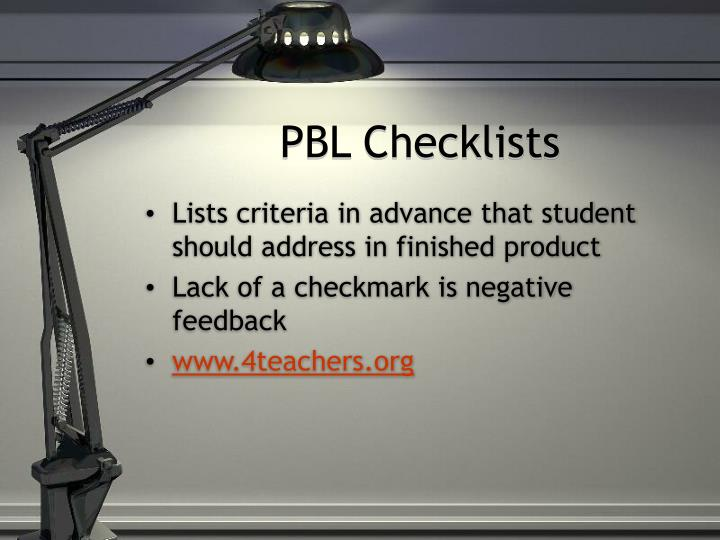 PBL Checklists