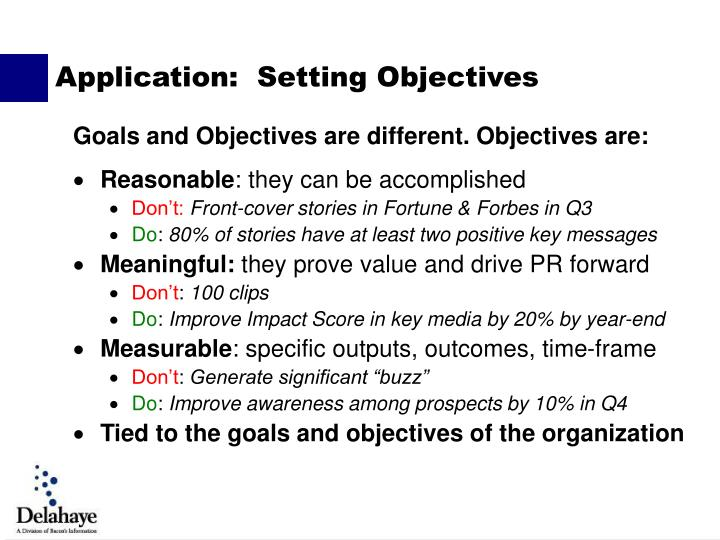 Goals and Objectives are different. Objectives are: