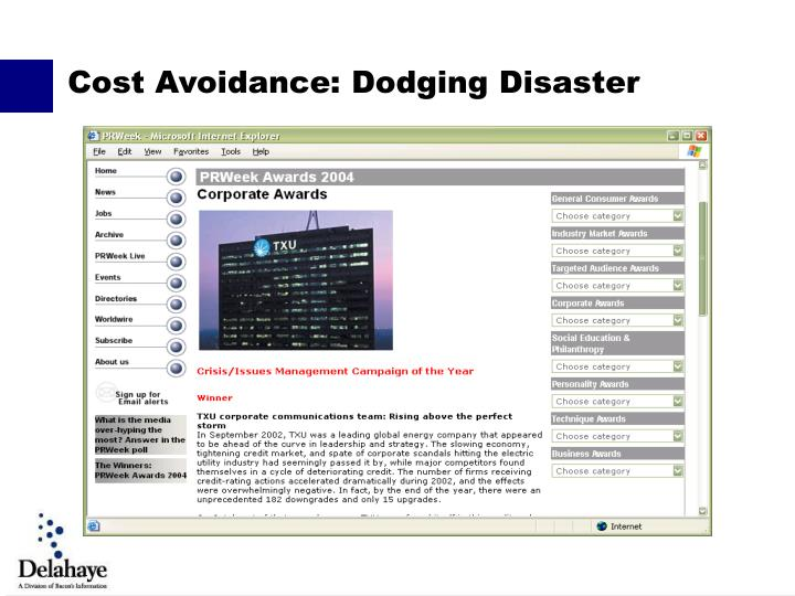 Cost Avoidance: Dodging Disaster
