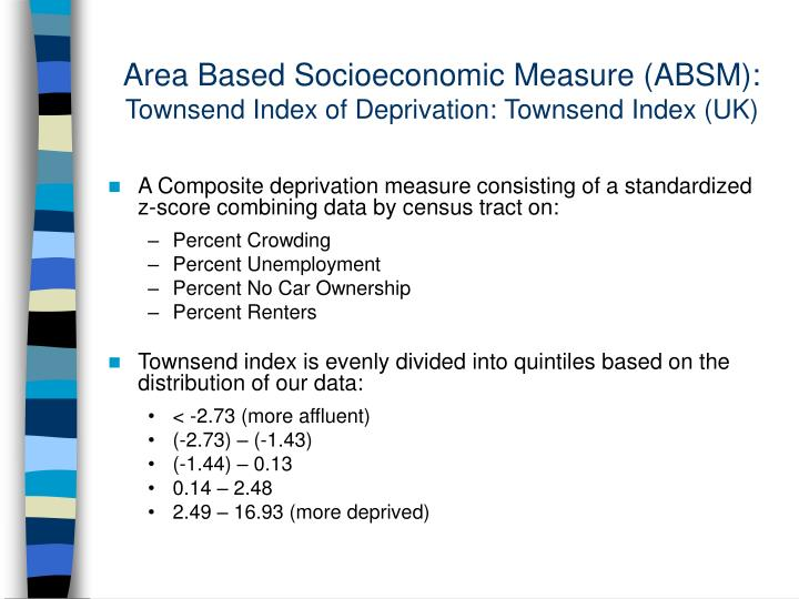 Area Based Socioeconomic Measure (ABSM):