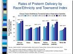 rates of preterm delivery by race ethnicity and townsend index
