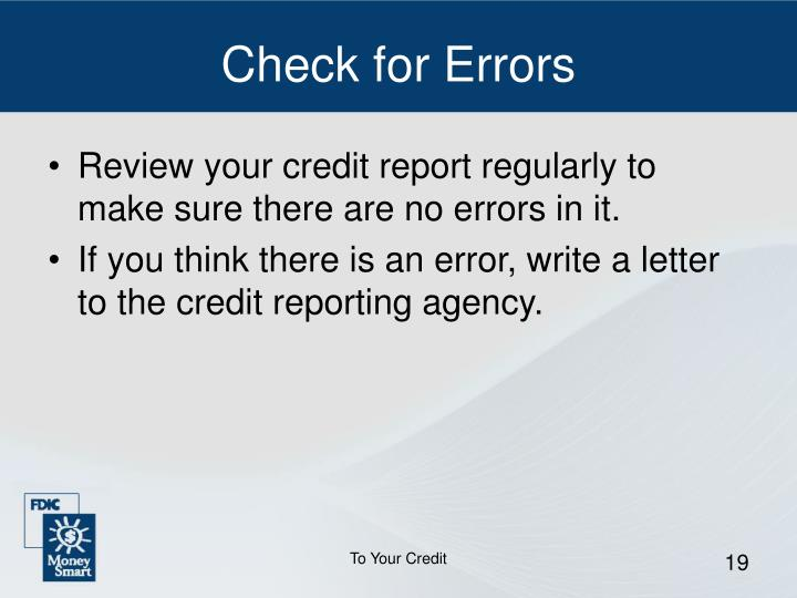 Check for Errors