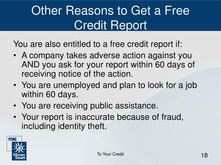 Other Reasons to Get a Free Credit Report