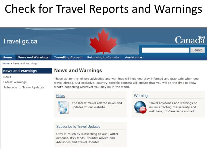 Check for Travel Reports and Warnings