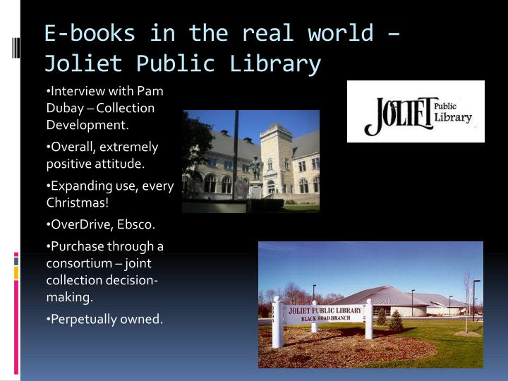 E-books in the real world – Joliet Public Library