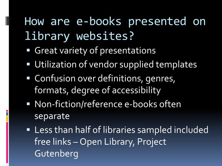 How are e-books presented on library websites?