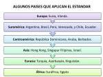 algunos paises que aplican el estandar