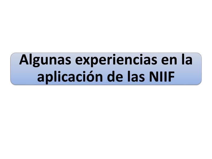 Algunas experiencias en la aplicación de las NIIF