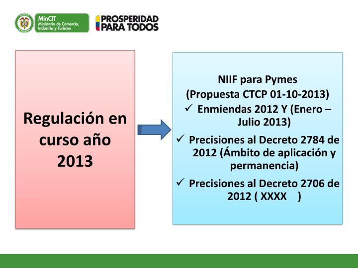 Regulación en curso año 2013