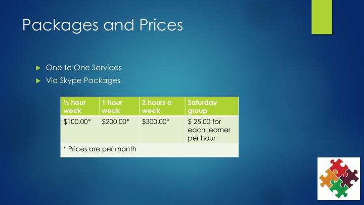 Packages and Prices