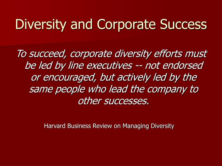 Diversity and Corporate Success