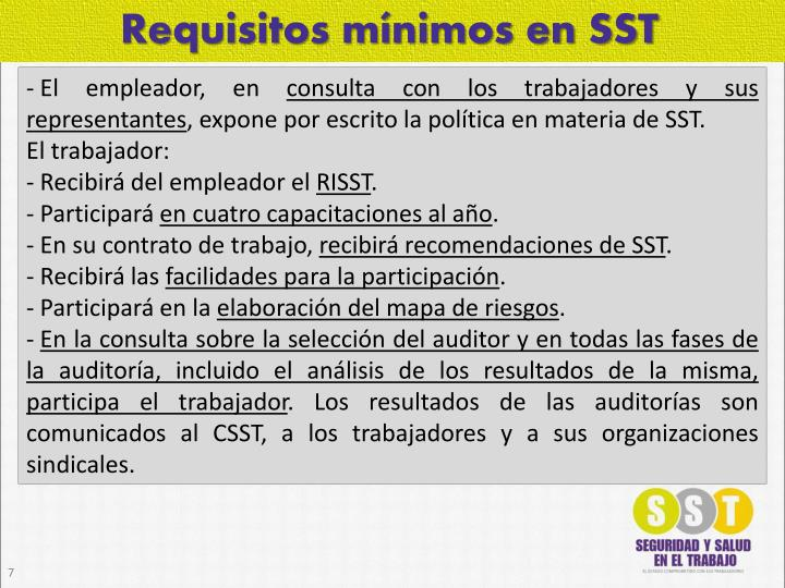 Requisitos mínimos en SST