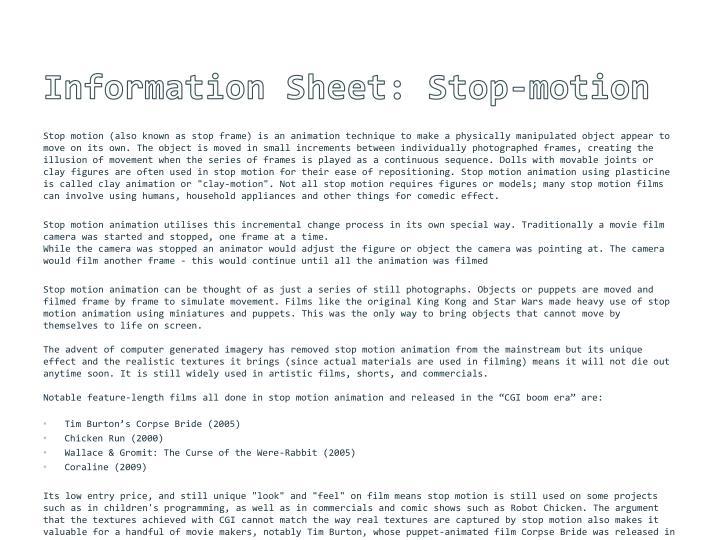 Information Sheet: Stop-motion