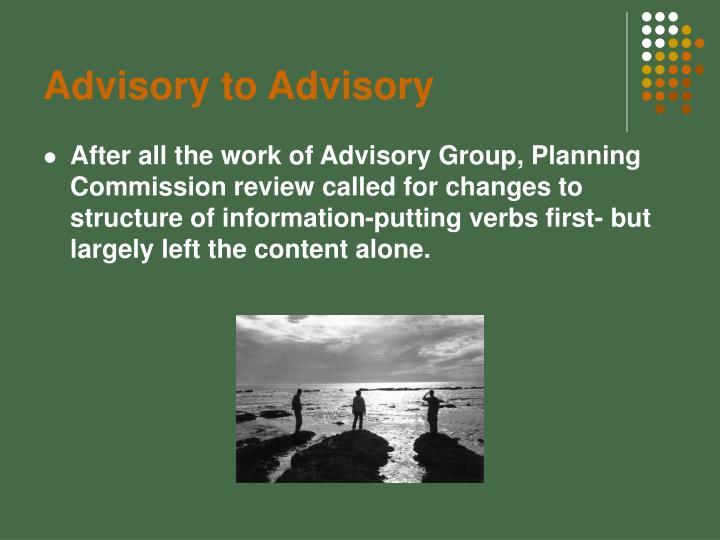 Advisory to Advisory