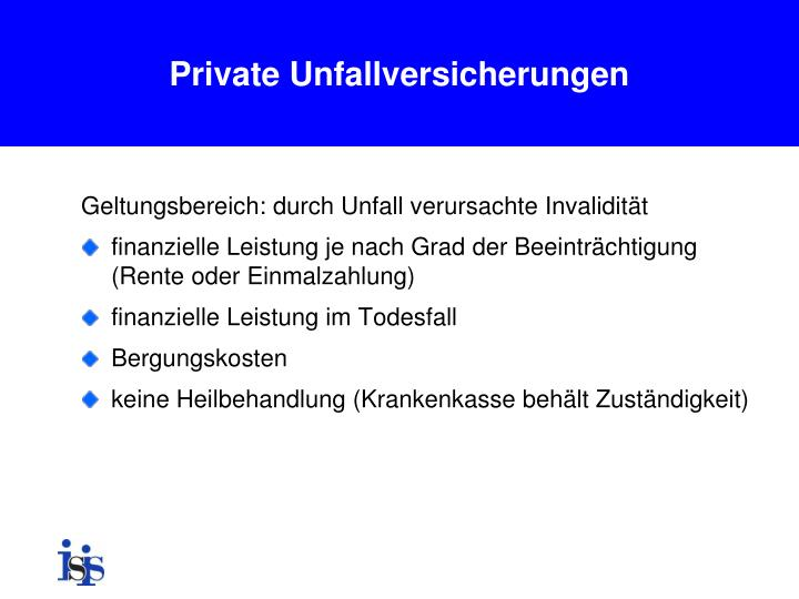 Private Unfallversicherungen