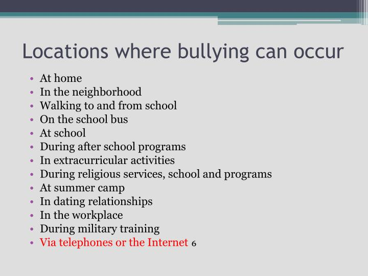 Locations where bullying can occur