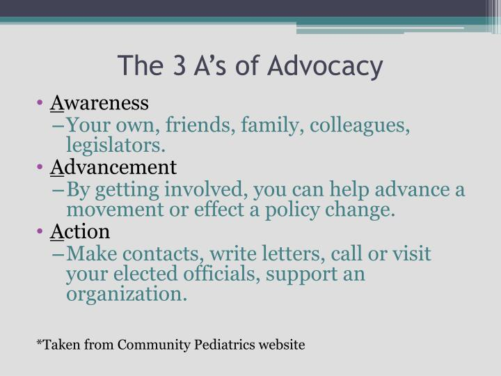 The 3 A's of Advocacy