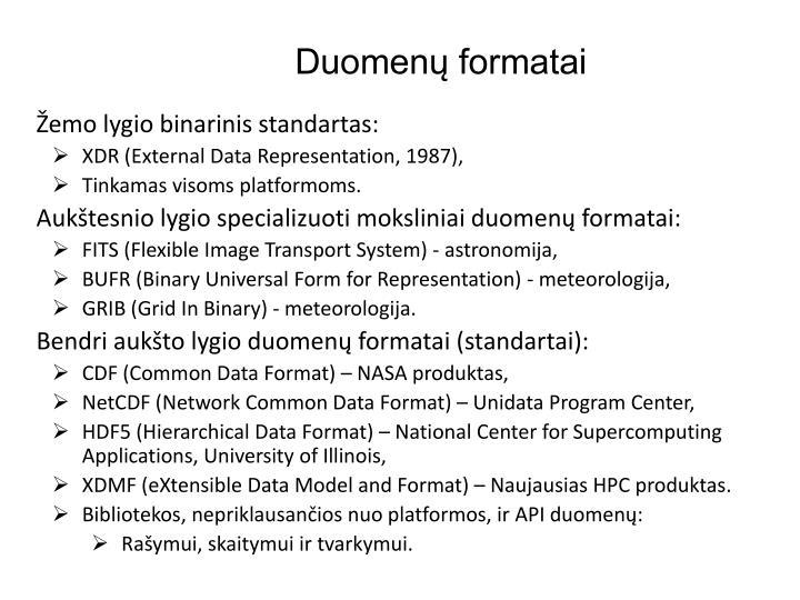 Duomenų formatai