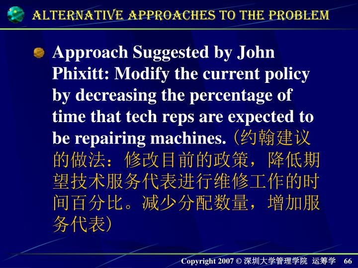 Approach Suggested by John Phixitt: Modify the current policy by decreasing the percentage of time that tech reps are expected to be repairing machines.