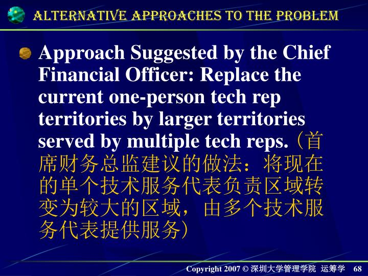 Approach Suggested by the Chief Financial Officer: Replace the current one-person tech rep territories by larger territories served by multiple tech reps.