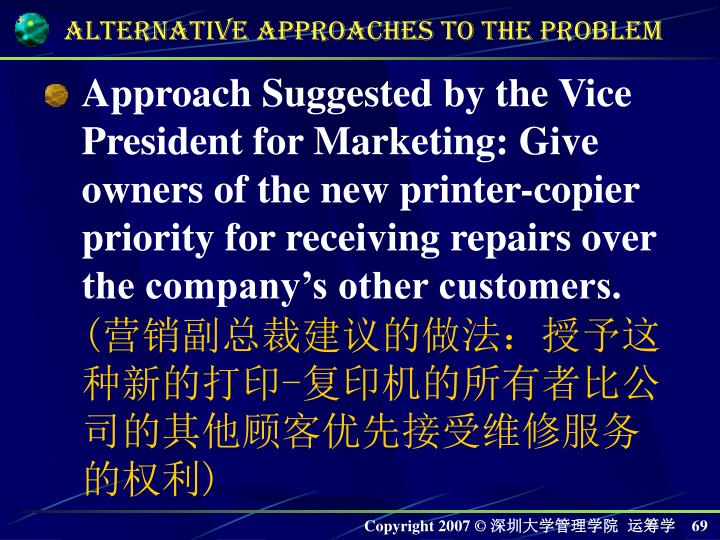 Approach Suggested by the Vice President for Marketing: Give owners of the new printer-copier priority for receiving repairs over the companys other customers.