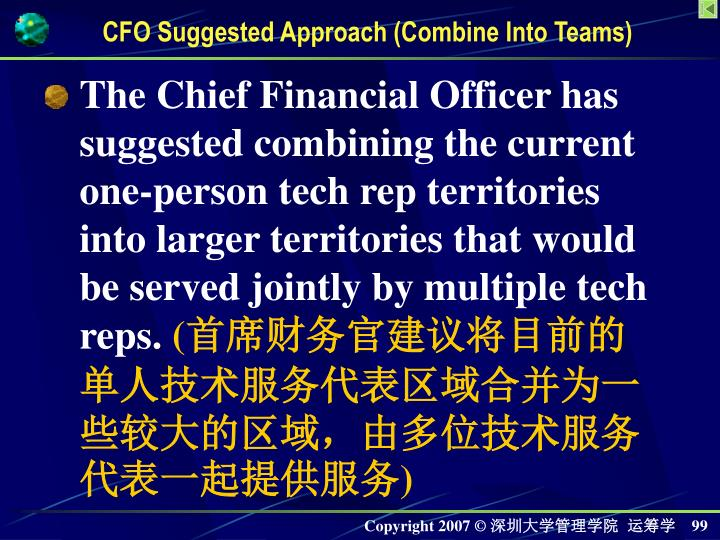 The Chief Financial Officer has suggested combining the current one-person tech rep territories into larger territories that would be served jointly by multiple tech reps.