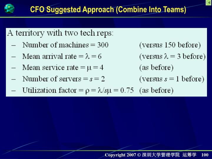 CFO Suggested Approach (Combine Into Teams)