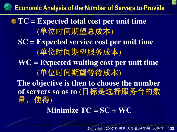 TC = Expected total cost per unit time