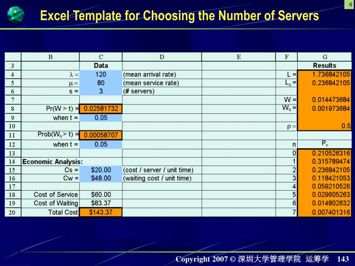 Excel Template for Choosing the Number of Servers
