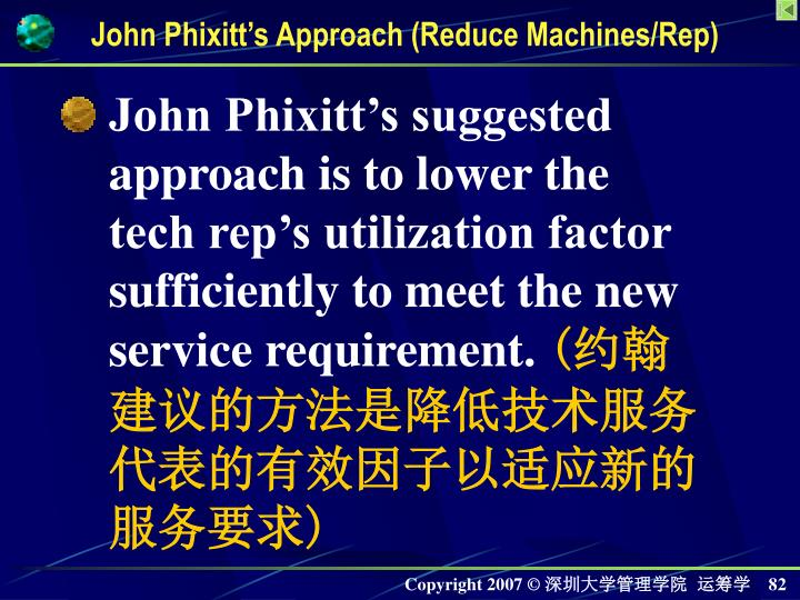 John Phixitts Approach (Reduce Machines/Rep)